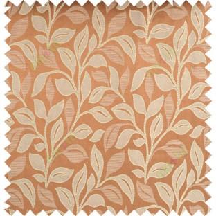Orange beige color floral pattern polycotton main curtain designs