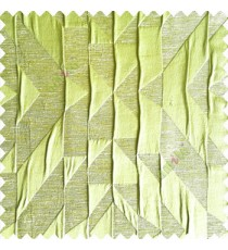 Greenish yellow color abstract designs geometric shapes triangles texture background polyester embossed patterns 3D shapes main curtain
