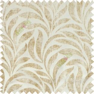 Beige Color Floral Leaf Pattern Velvet Finished Vertical Crushed Stripes