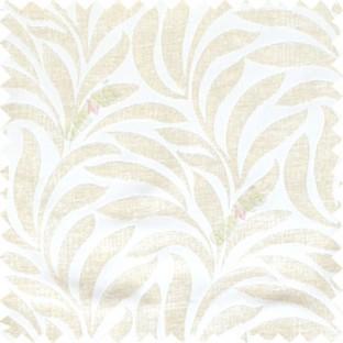 Cream White Color Floral Leaf Pattern Velvet Finished Vertical Crushed