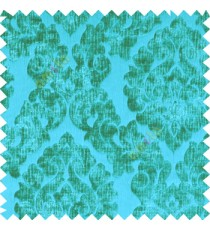 Aqua blue color Traditional big damask design soft velvet finished surface with vertical crushed stripes background swirls pattern sofa fabric