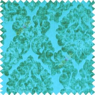 Aqua blue color Traditional big damask design soft velvet finished surface with vertical crushed stripes background swirls pattern sofa fabric
