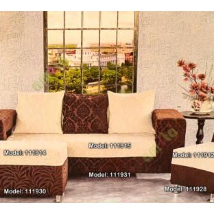 Beige Color Floral Leaf Pattern Velvet Finished Vertical Crushed Stripes  Texture Finished Surface Sofa Fabric