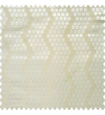 Beige cream color geometric designs embossed embroidery honeycomb patterns vertical zigzag lines texture finished polyester main curtain