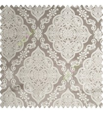 Grey cream color traditional embossed designs damask pattern flowers leaf swirls shiny base fabric polyester thick background main curtain