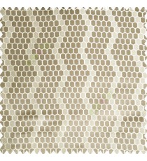 Grey cream color geometric designs embossed embroidery honeycomb patterns vertical zigzag lines texture finished polyester main curtain