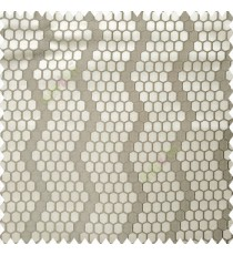 Grey beige color geometric designs embossed embroidery honeycomb patterns vertical zigzag lines texture finished polyester main curtain