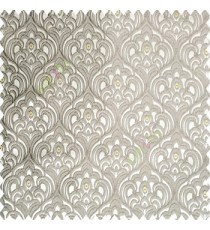 Grey gold color traditional embroidery patterns damask with golden oval shaped designs swirls texture finished base polyester fabric main curtain