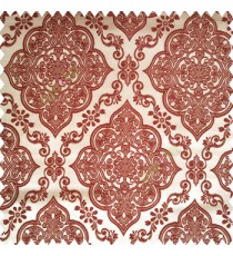 Maroon brown color traditional embossed designs damask pattern flowers leaf swirls shiny base fabric polyester thick background main curtain