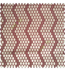 Maroon brown color geometric designs embossed embroidery honeycomb patterns vertical zigzag lines texture finished polyester main curtain