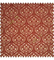 Maroon brown gold color traditional embroidery patterns damask with golden oval shaped designs swirls texture finished base polyester fabric main curtain