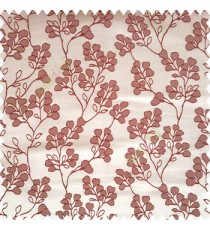 Maroon brown color floral designs beautiful embroidery complete floral twigs pattern polyester base fabric with thick main curtain