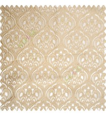 Beige gold color traditional embroidery patterns damask with golden oval shaped designs swirls texture finished base polyester fabric main curtain