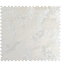 White beige color seamless leaf pattern with thick fab polycotton main curtain designs