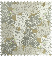 Beige green blue color fresh leafy design with thick fab background polycotton main curtain designs
