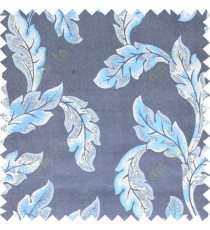 Blue grey beige color seamless leaf pattern with thick fab polycotton main curtain designs