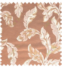 Gold rust beige color seamless leaf pattern with thick fab polycotton main curtain designs