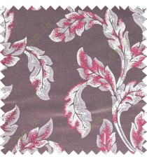 Maroon beige color seamless leaf pattern with thick fab polycotton main curtain designs