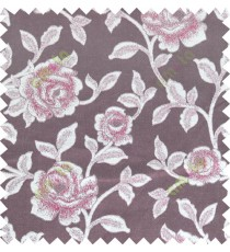 Maroon beige color elegant roses thick fab polycotton main curtain designs