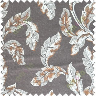 Brown beige color seamless leaf pattern with thick fab polycotton main curtain designs