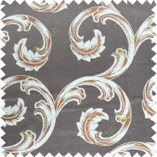 Brown beige color ornament pattern with thick fab polycotton main curtain designs