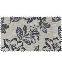Black brown grey color beautiful floral design polycotton main curtain designs   113339