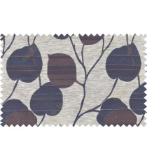 Black brown grey color natural peepal leaf polycotton main curtain designs   113341