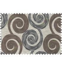 Black brown grey color orbit pattern polycotton main curtain designs   113342