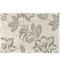 Brown beige gold color beautiful floral design polycotton main curtain designs   113344