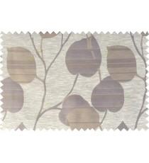 Brown beige gold color natural peepal leaf polycotton main curtain designs   113346