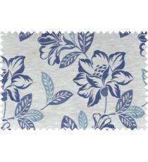 Blue beige grey color beautiful floral design polycotton main curtain designs   113354
