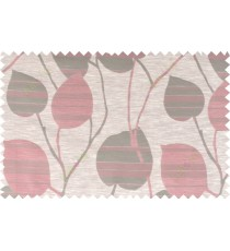 Pink beige grey color natural peepal leaf polycotton main curtain designs   113361