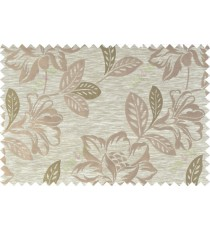 Green beige brown color beautiful floral design polycotton main curtain designs   113364