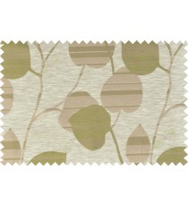 Green beige brown color natural peepal leaf polycotton main curtain designs   113365