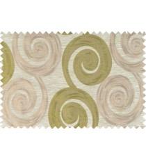 Green beige brown color orbit pattern polycotton main curtain designs   113365