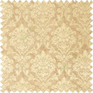 Gold and brown color combination traditional design big damask pattern smooth and shiny finished designs textured background polycotton main curtain