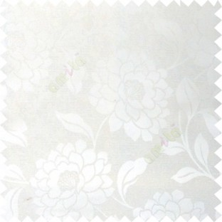 White color combination beautiful big size flower pattern with long stem having fresh leaf design polycotton main curtain