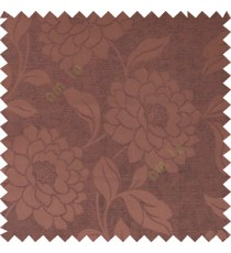 Dark chocolate brown color combination beautiful big size flower pattern with long stem having fresh leaf design polycotton main curtain