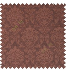 Dark chocolate brown color combination traditional design big damask pattern smooth and shiny finished designs textured background polycotton main curtain