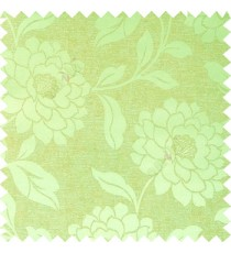 Green brown color combination beautiful big size flower pattern with long stem having fresh leaf design polycotton main curtain