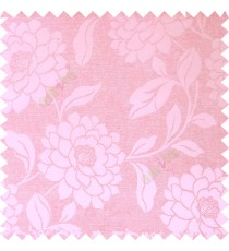 Pink color combination beautiful big size flower pattern with long stem having fresh leaf design polycotton main curtain