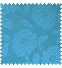 Royal blue color combination beautiful big size flower pattern with long stem having fresh leaf design polycotton main curtain