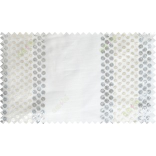 Pure white beige silver colour sequin vertical polka dot stripes poly sheer curtains design