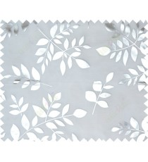 White silver color fresh leaves poly sheer curtains design