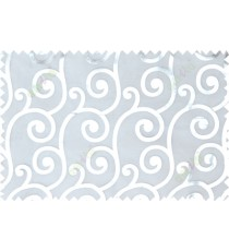 White silver color swirl pattern poly sheer curtains design