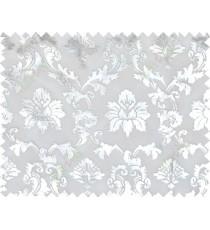 White silver color damask design poly sheer curtains design