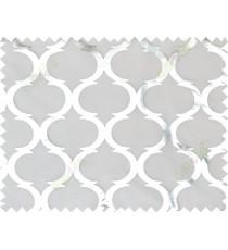 White silver trellis stencil pattern poly sheer curtains design