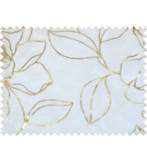 Gold white color beautiful natural floral design poly sheer curtains design