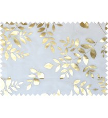 Gold white color fresh leaves poly sheer curtains design