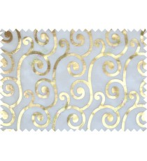 Gold white color swirl pattern poly sheer curtains design